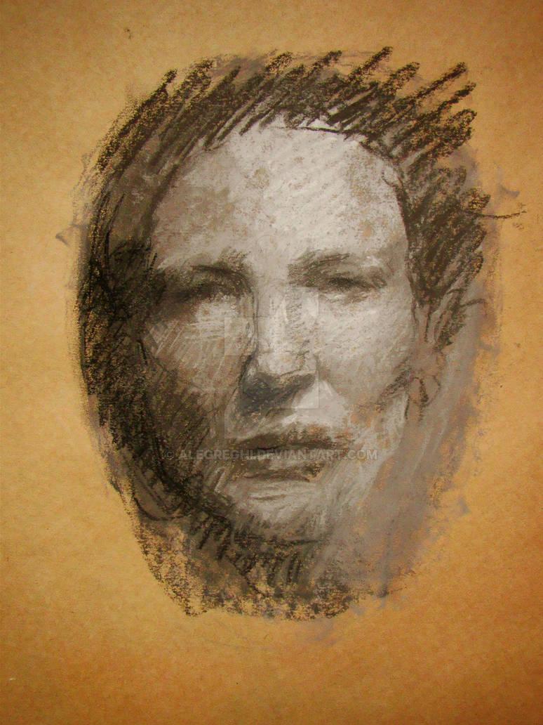 Cate Blanchett tonal drawing - pastels