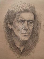 Gabriel Byrne gesture drawing - charcoal