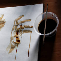 Hand sketches made in coffee