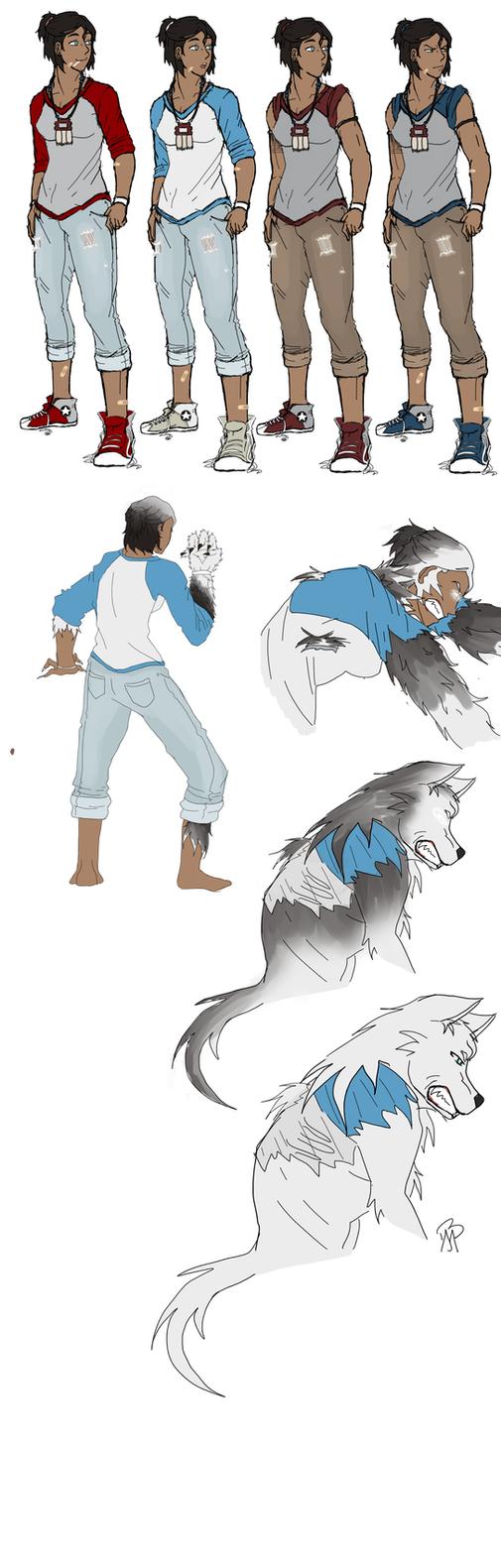 Korra Wolf AU Drawings by JustiCmo