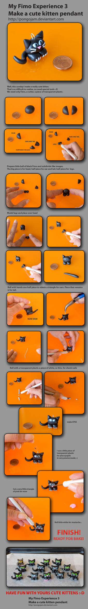 Make cute kitten FIMO TUTORIAL by pongojam