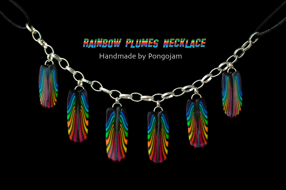 Rainbow Plumes Necklace by pongojam