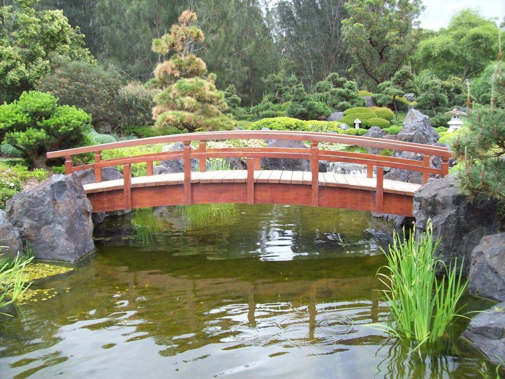Bridge over the koi pond by melthepirate on deviantart for Small japanese ponds