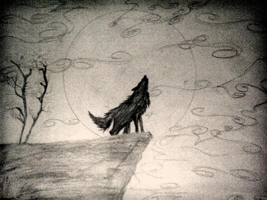 Moonlight Howl (Sketch) by DeadWolvesWalking on DeviantArt