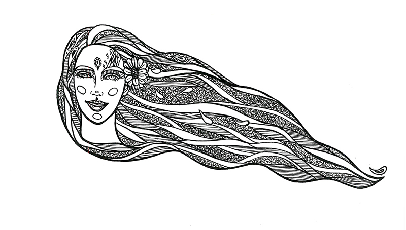 Woman with flowers in long hair by goraakkaya