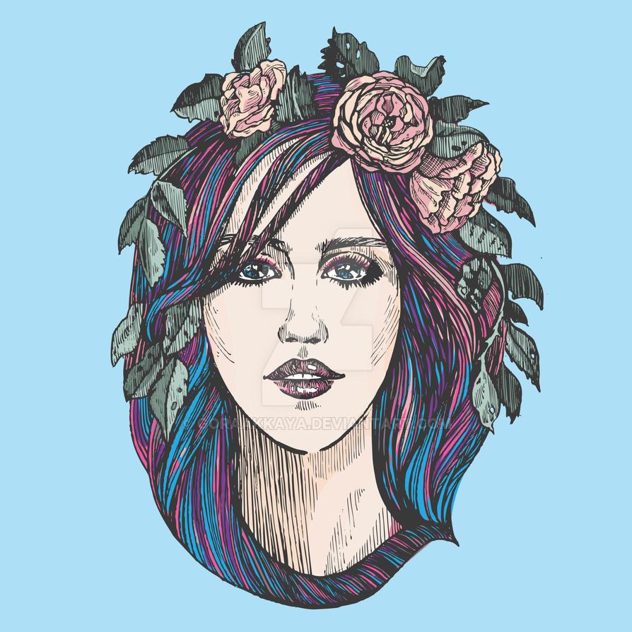 Beautiful woman with roses wreath in blue hair. by goraakkaya