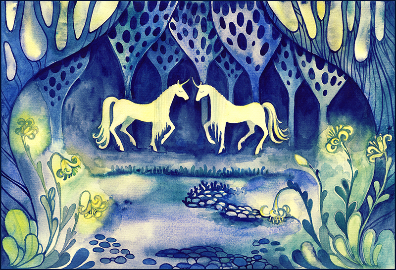 Two unicorn in the magic wood. by goraakkaya