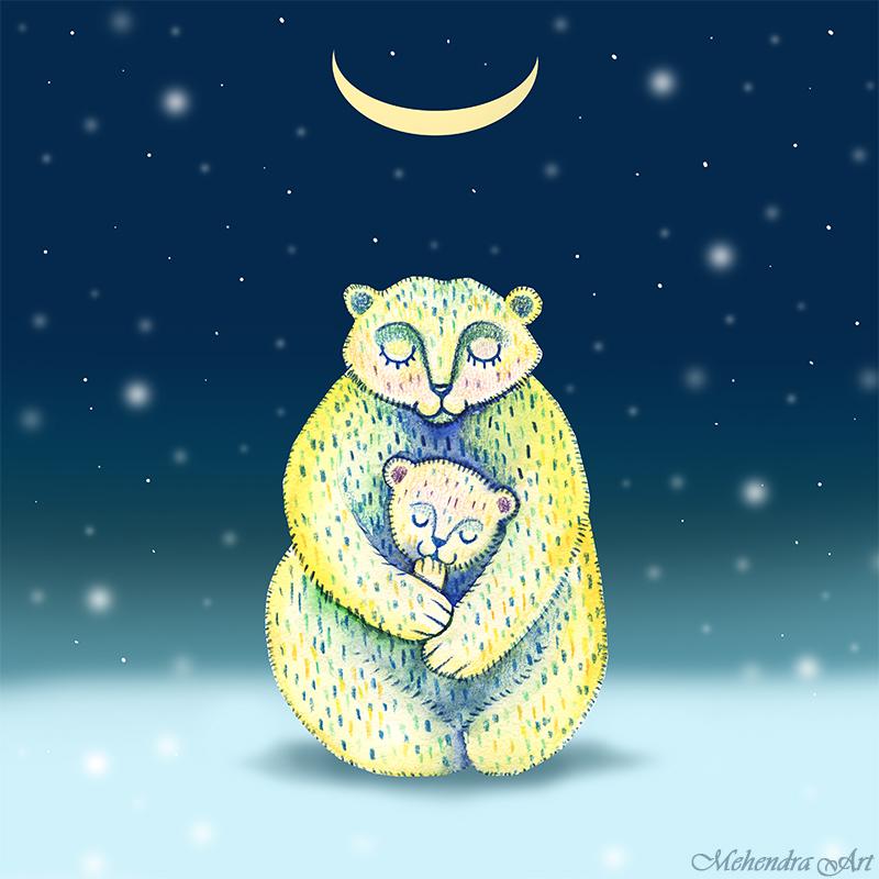 Polar bears mother and child by goraakkaya