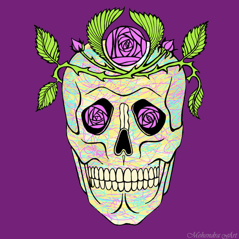 Vintage pirate skull with flowers wreath by goraakkaya