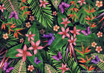 Tropical flowers pattern of exotic flower and plan