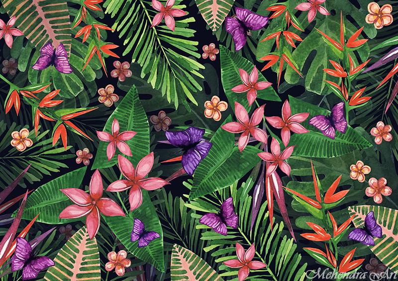 Tropical flowers pattern of exotic flower and plan by goraakkaya
