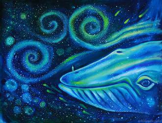 Blue whale and a human by goraakkaya