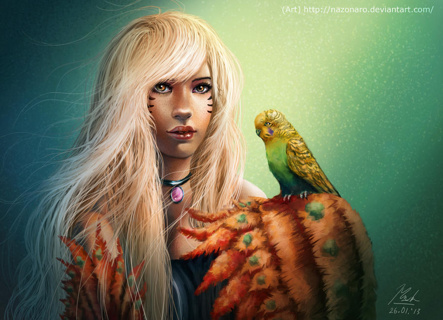 Parakeet Lady by Nazonaro