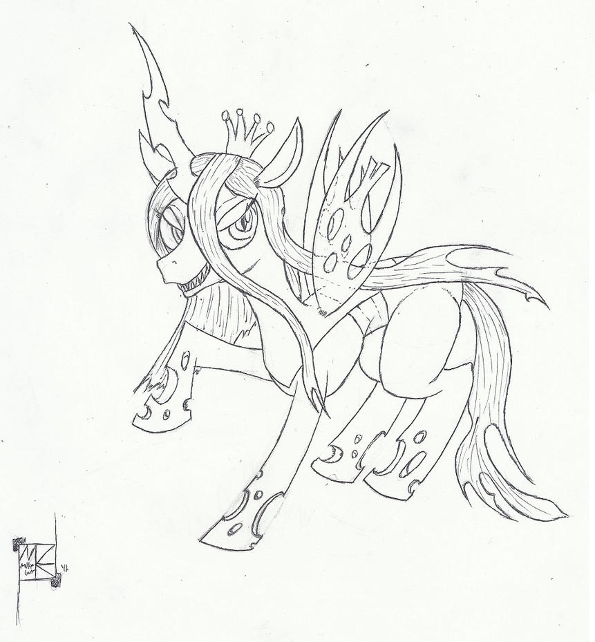 Queen chrysalis lineart by epicpaladin on deviantart for Queen chrysalis coloring pages