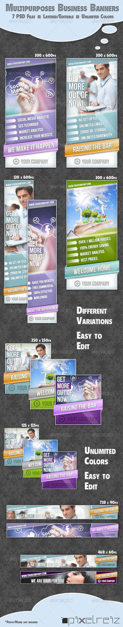 Fresh Stylish Multipurpose Business Banner Set by Pixelreiz