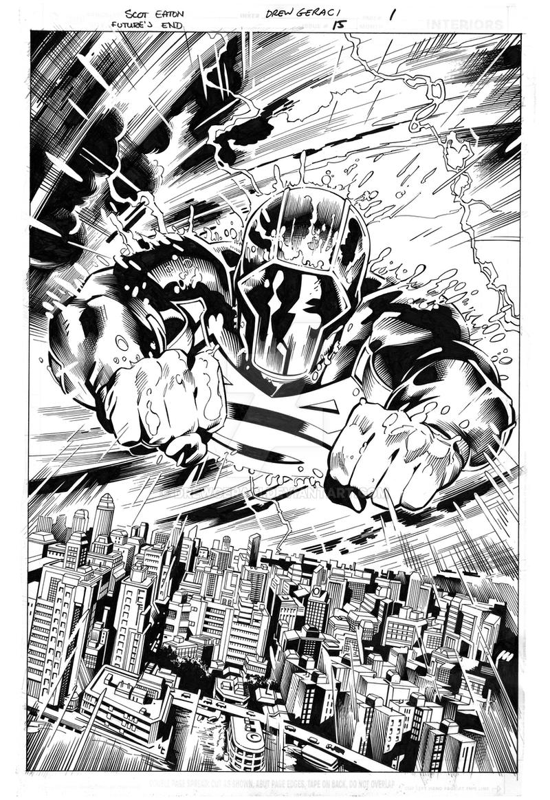 Future's End#15 page1 original pencils and inks by DrewGeraci