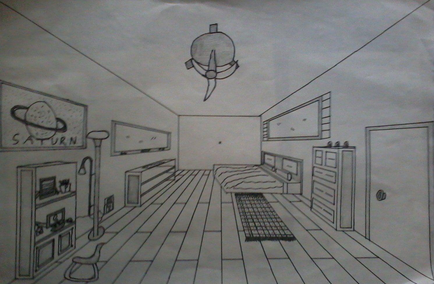 One point perspective dream bedroom by weissdrum on for Bedroom 2 point perspective