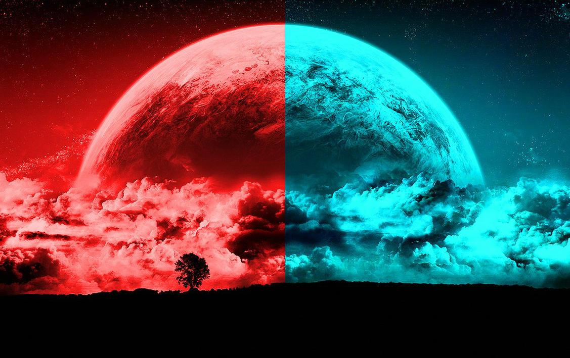 half red blue moon wallpaper by weissdrum on deviantart