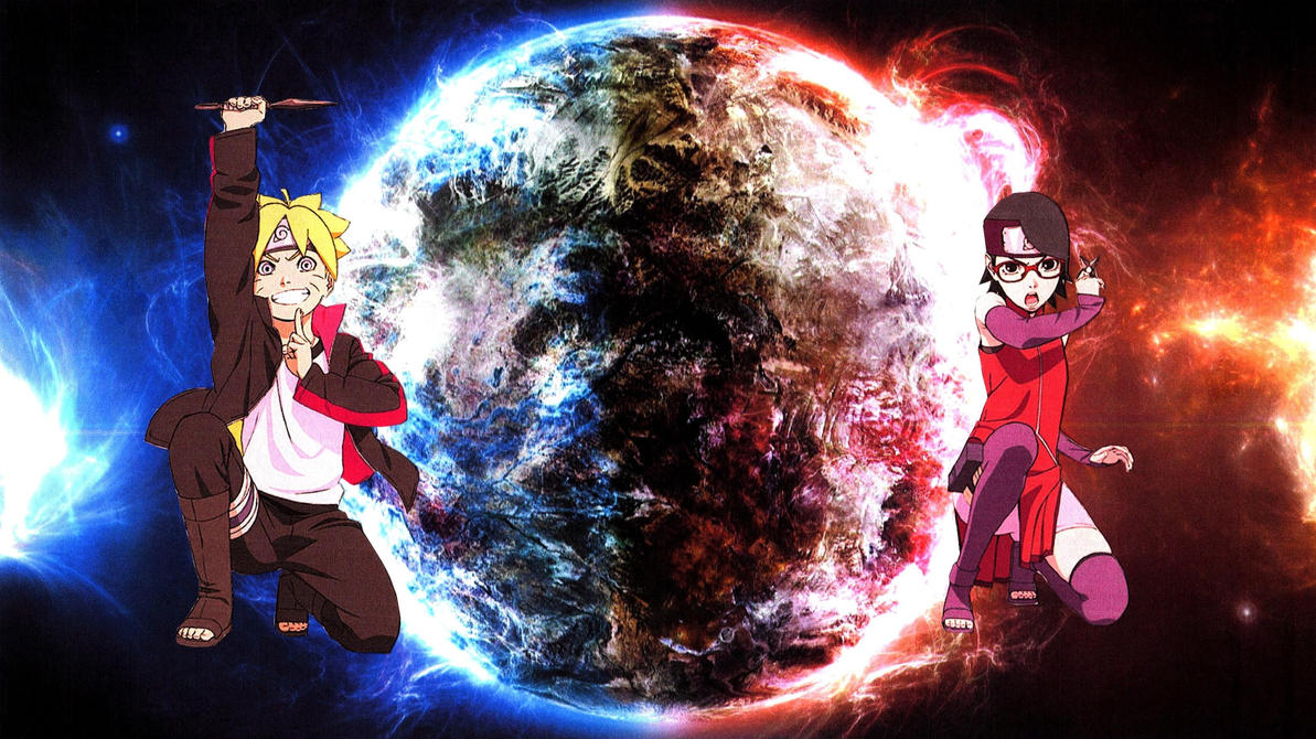 Boruto And Sarada Blue And Red Planet Wallpaper By Weissdrum On Deviantart
