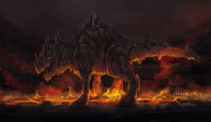 Stone Dragon Warming His Tummy by Kritzelkrams
