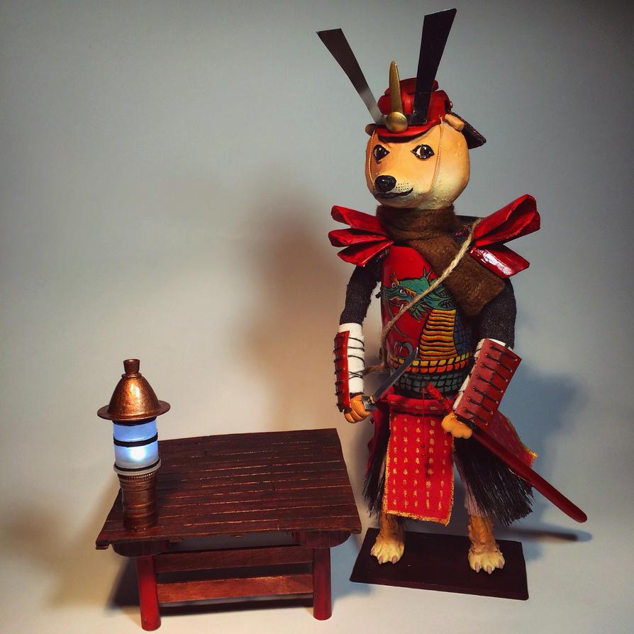 Samurai Doge Shiba Inu figure by dolgopolovki