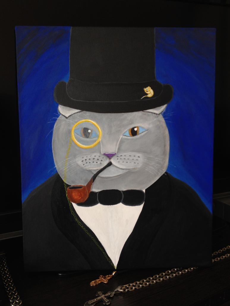 Grey cat in smoking painting on canvas by dolgopolovki