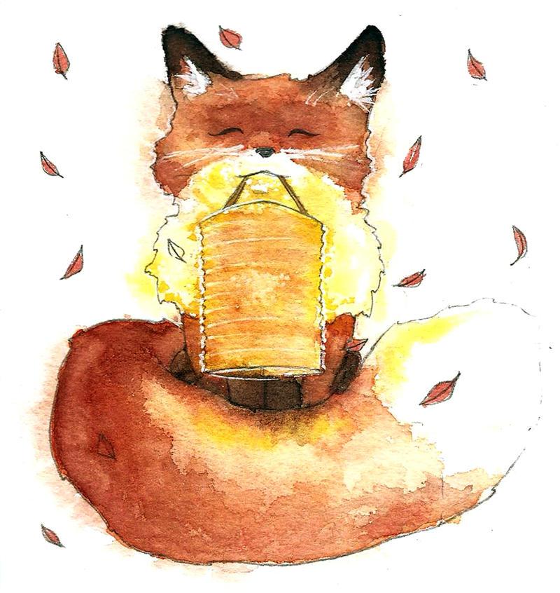 Fox and Lantern by Eyrann