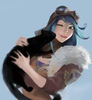 Aviator Irelia + cat for some reason by IroPagis