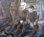 Detail of the sitting soldiers