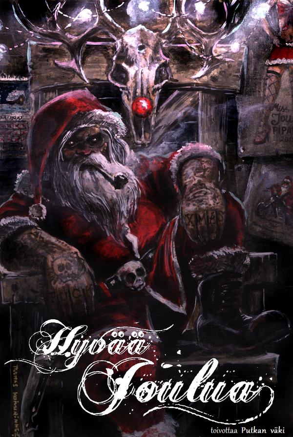 Christmas card for our tattoo shop by tuomaskoivurinne