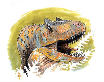 Allosaurus head by tuomaskoivurinne