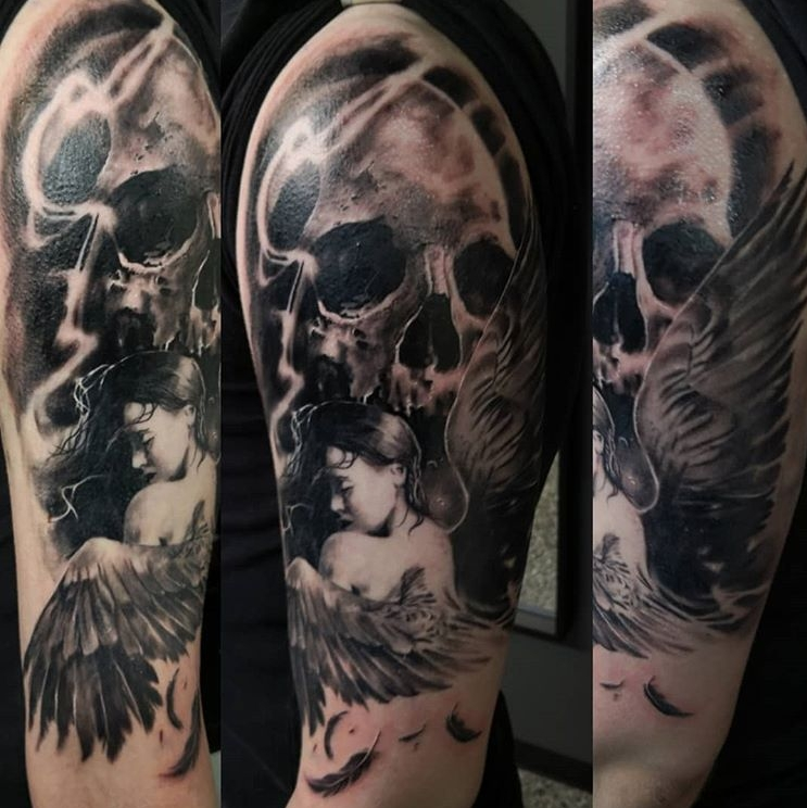 Skully angel tattoo