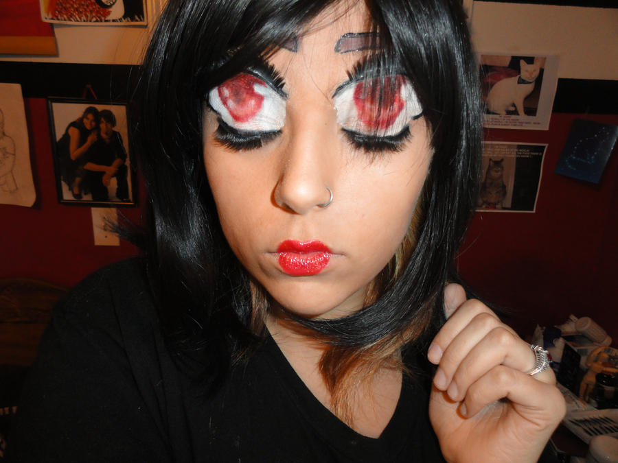 anime eyes female happy. tattoo anime eyes makeup.