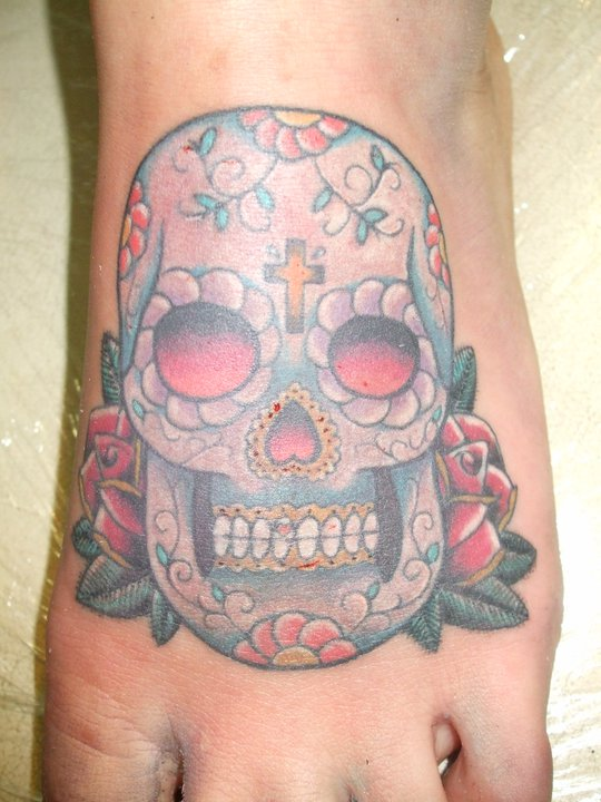 Mexican Sugar Skull Tattoo On Foot Picture 2