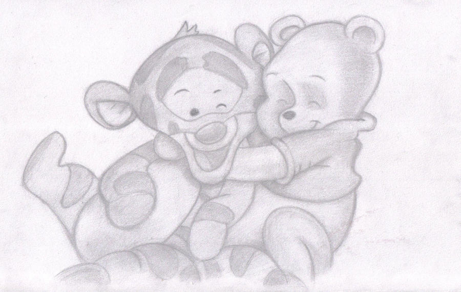 Drawing of Baby Winnie the Pooh and Tigger by SUNNY-3D-RAMMBaby Winnie The Pooh And Tigger