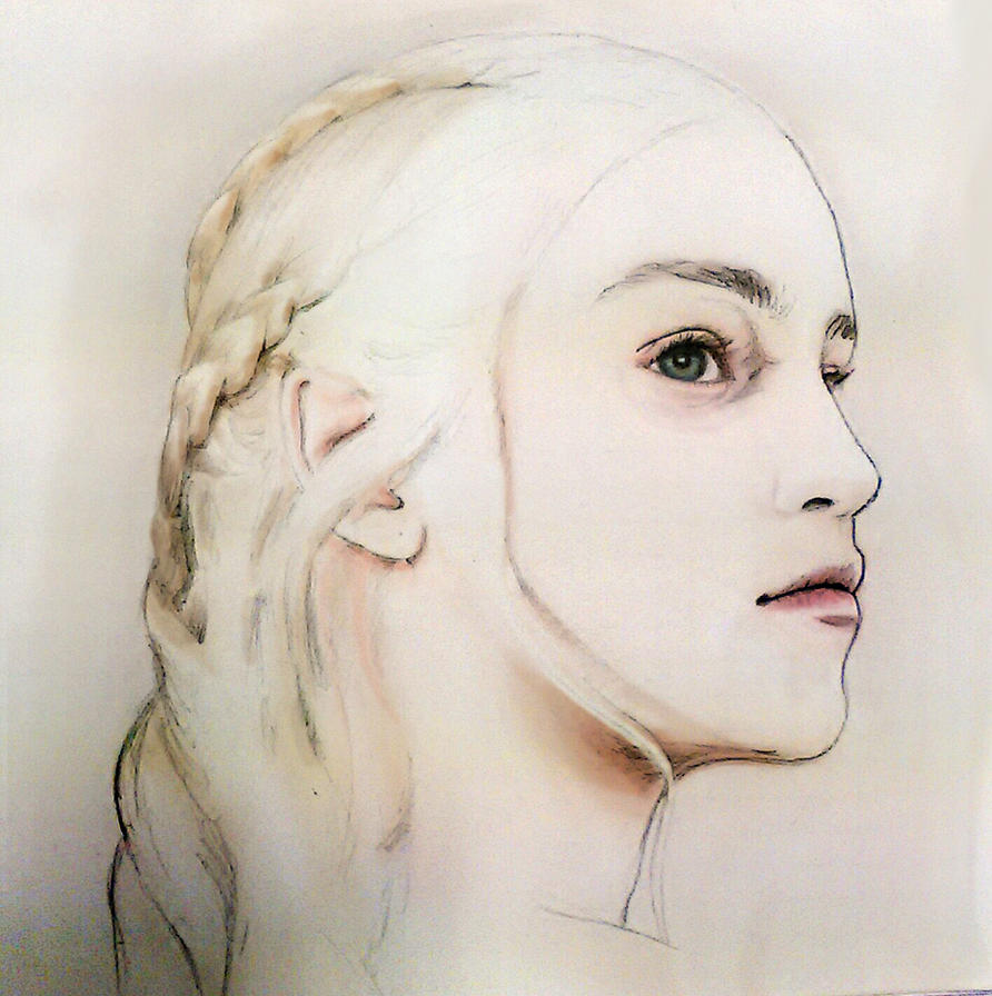 Daenerys/Emilia Clarke - Colored Sketch by DarkSteelPenguin