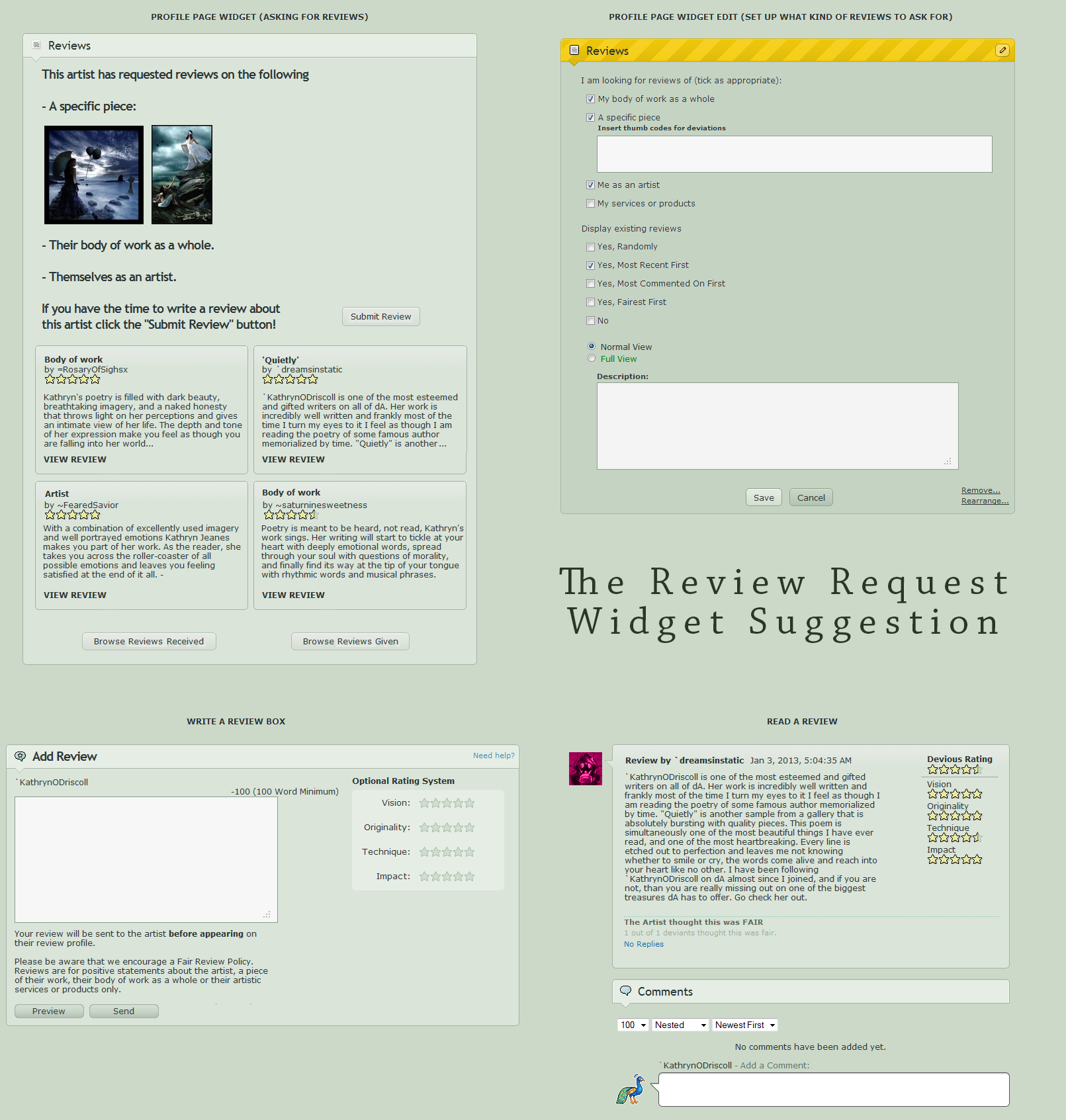 DA Site Suggestion: Review Requests by PoetryOD