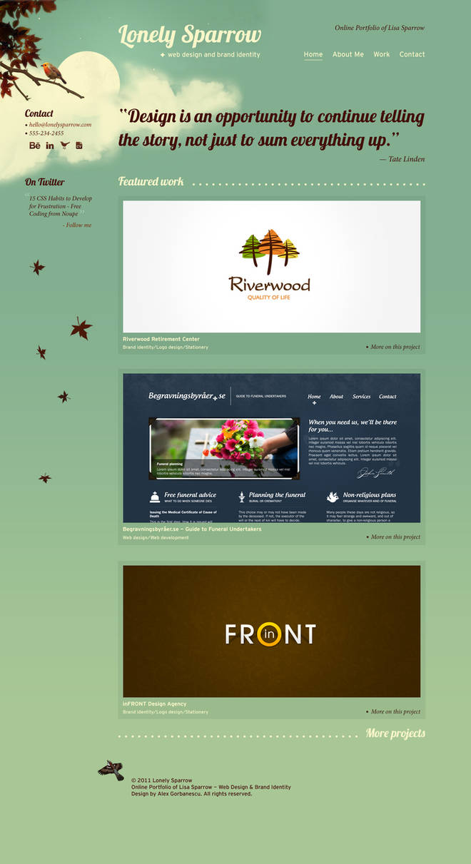 Lonely Sparrow Website Layout