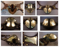 Steampunk respirator mask views by Bakenekoya