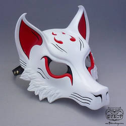 White/Red Kitsune Mask
