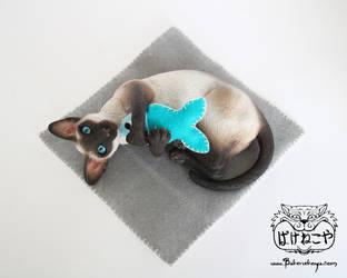 Playing Siamese cat - seal point by Bakenekoya