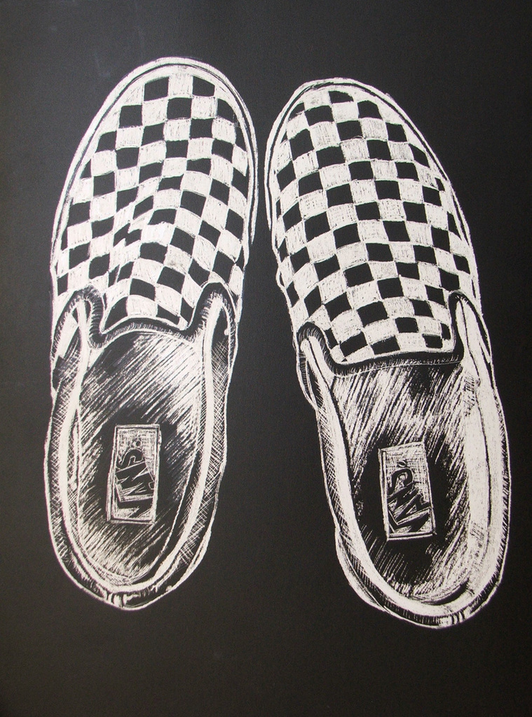 Drawing of Vans Shoes Vans Shoes Scratchboard by