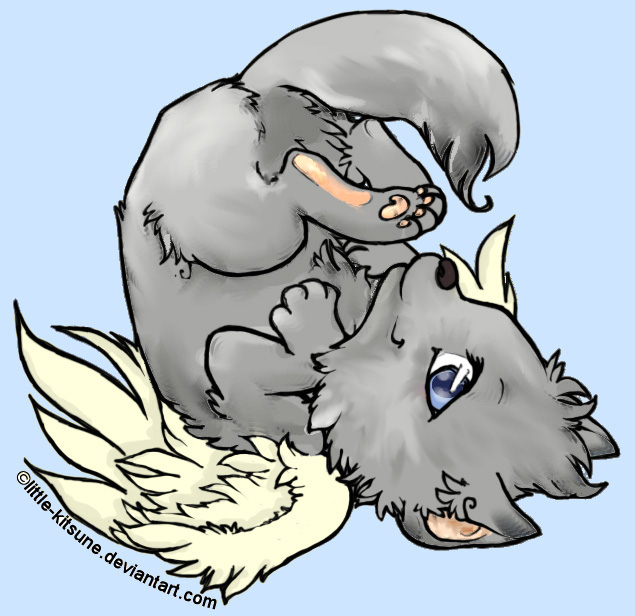 Cute cartoon wolf pup with wings