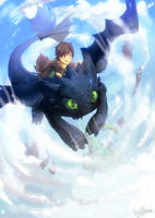 Hiccup and Toothless by clover3D