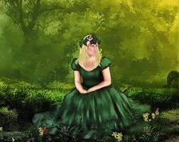 Sentada en el bosque