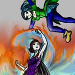 Kelpie vs Sango by GhoulMage
