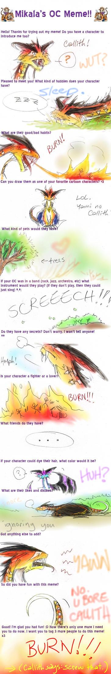 Mikala's OC Meme: Callith by Achiru-et-al
