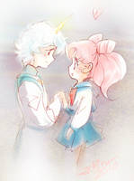 Helios and Chibiusa . by Achiru-et-al