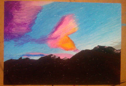 Sunset in Alps (pastel 091215)