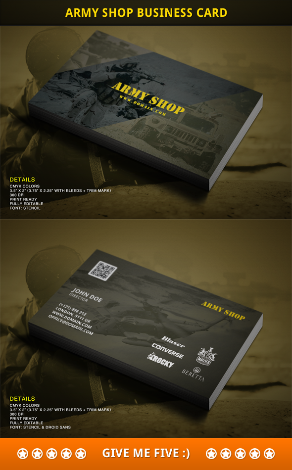 Army Shop business card design by harmonikas996 on DeviantArt